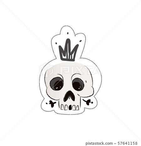 Sticker of a skeleton skull in a crown. 57641158