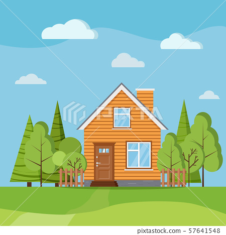 Summer or spring landscape nature scene background with country rural farm house with chimney. 57641548