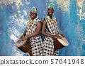 Two African musician with traditional clothes and drums 57641948