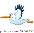 Cartoon white stork flying 57649251