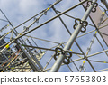 Metal girder extensive scaffolding providing platforms for stage structure support 57653803