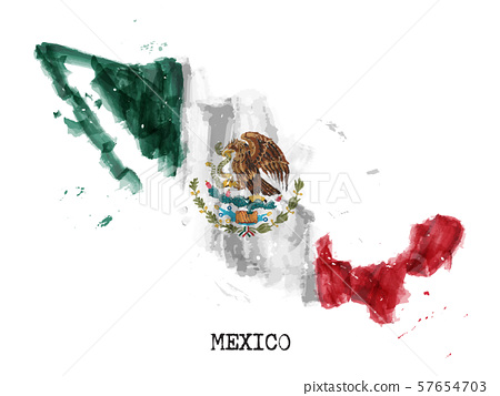 Mexico flag watercolor painting design and country 57654703