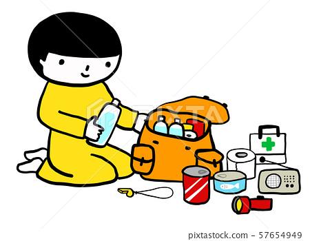 防災商品檢查兒童矢量Aokiiro-kun 57654949
