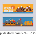 Canadian symbols and landmarks, vector illustration. Flat style banners, headers for Canada travel 57658235