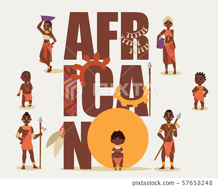 African native tribe people isolated on white background, vector illustration. Ethnic aborigines of 57658248