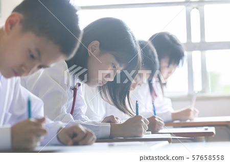 Studying class scene Image of junior and senior high school students 57658558