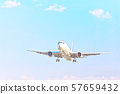Blue Sky and Airplane 57659432