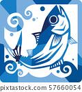 가다랑어의 이미지 일러스트 사각 57660054