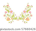 Indian ethnic pattern with flowers and bird. 57660426
