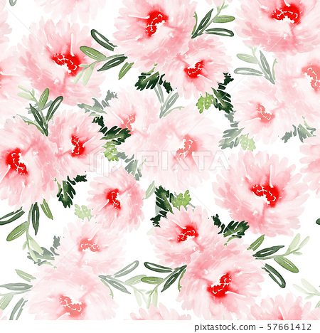 Seamless summer pattern with watercolor flowers 57661412