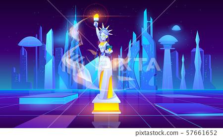 Statue of Liberty neon city futuristic background 57661652