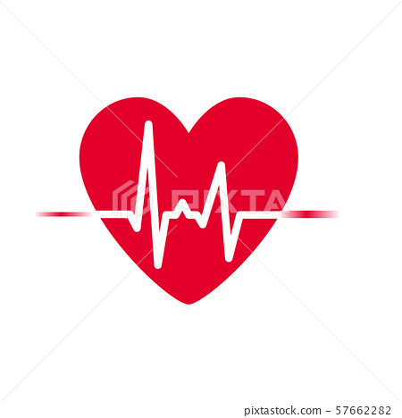 Heartbeat icon vector. heart rhythm, Electrocardiogram, ECG - EKG signal, Heart Beat pulse line 57662282