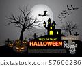 Happy halloween on grey moon light night party holiday celebration festival vector illustration. 57666286