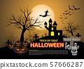 Happy halloween on orange moon light night party holiday celebration festival vector illustration. 57666287