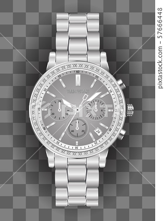 Realistic clock chronograph watch for men silver diamond grey face on checkered background luxury vector illustration. 57666448