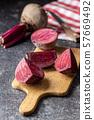 Sliced tasty raw beetroot. 57669492