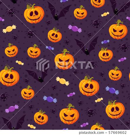 Halloween pumpkin seamless pattern on purple 57669602