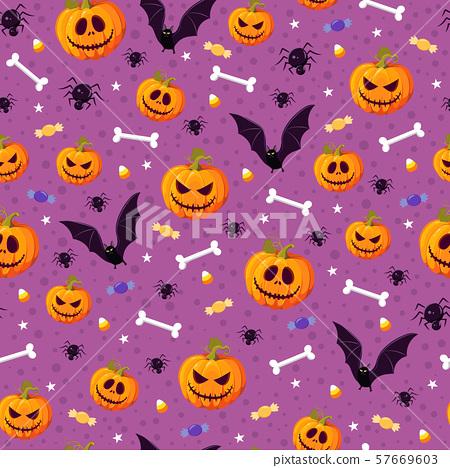 Halloween pumpkin seamless pattern on purple 57669603
