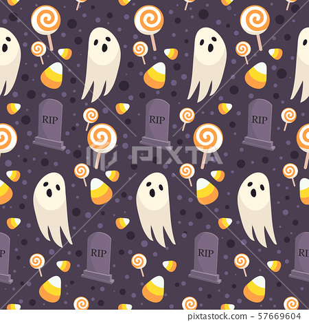 Halloween seamless pattern on purple background. 57669604