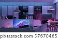 Modern Livingroom with colored led light - Smart 57670465