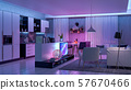 Modern Livingroom with colored led light - Smart 57670466