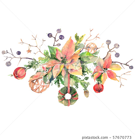Bouquet chrismas symbol isolated. Watercolor background illustration set. Isolated bouquet 57670773