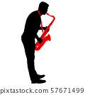 Silhouette of musician playing the saxophone on a 57671499