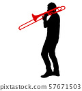 Silhouette of musician playing the trombone on a 57671503