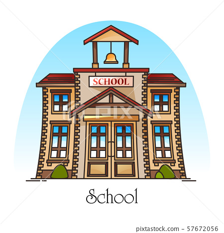 Facade of school building with bell or college 57672056