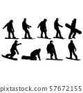Set black silhouettes snowboarders on white 57672155