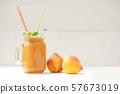 Healthy summer beverage, fresh blended peach's 57673019