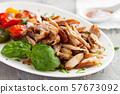 Roasted pork fillet with grilled vegetables 57673092