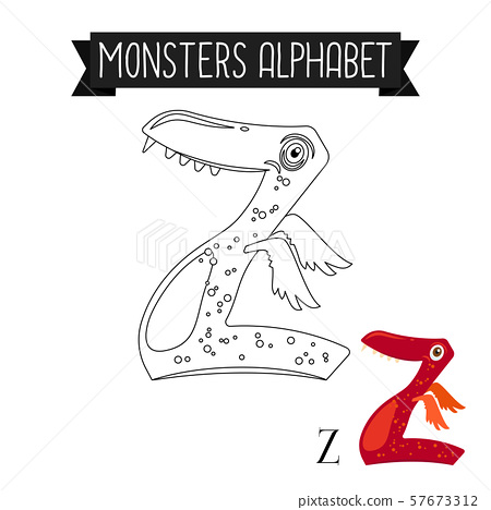 Coloring page monsters alphabet letter Z 57673312