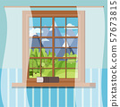 Wooden room window frame with book and tulle in cartoon flat style. . 57673815