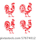 Stylized red cockerel rooster silhouette set 57674012