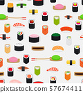 Sushi pattern with colorful flat elements 57674411