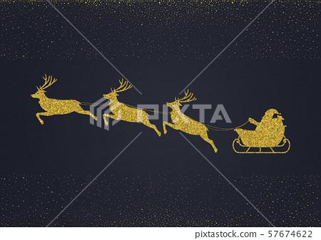 聖誕節金對象聖誕老人和馴鹿 57674622