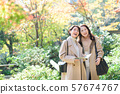 Travel autumn autumn leaves mother daughter parent and child family travel image 57674767