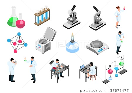 Pharmaceutic Laboratory Isometric Icons Set 57675477