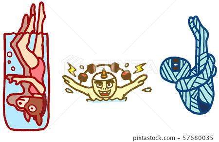 동물 캐릭터 스포츠 올림픽 수영 57680035