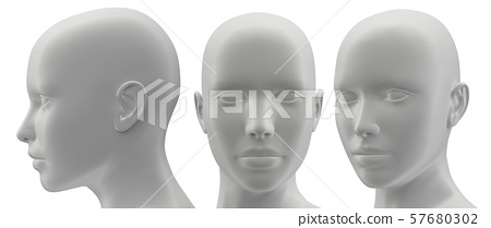 3d rendering illustration of face human collection 57680302