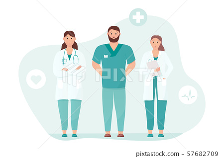 Friendly and caring doctors meet the patient 57682709