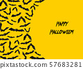 Halloween greeting card with black bats on yellow background 57683281