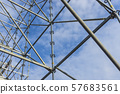 Metal girder extensive scaffolding providing platforms for stage structure support 57683561