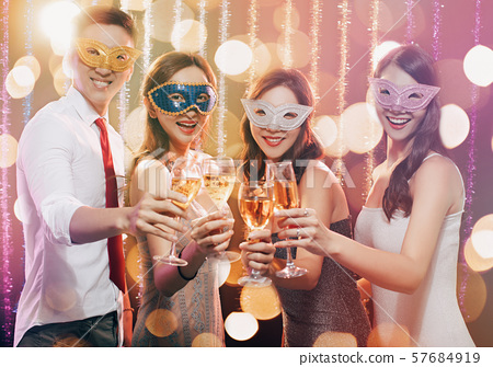 happy young group celebrating New Year and 57684919