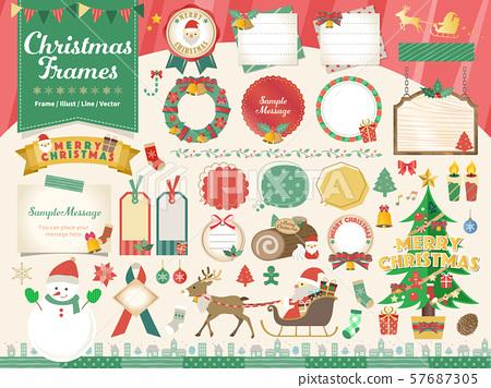 聖誕節框架例證集合 57687305
