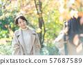 旅行秋天秋叶母亲女儿父母和儿童家庭旅行图象 57687589