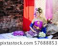 Beautyful Thai woman wearing thai traditional clothing 57688853