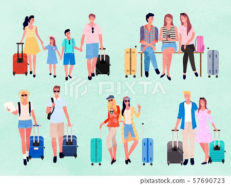 Travelers or Tourists Characters with Luggage Set 57690723