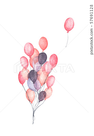 Bunch of party balloons. Flying colorful balloons. 57691128